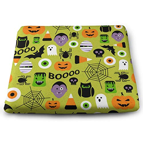 Fashion Seat Chair Pad, Non-Slip Bar Stool/Office/Car Chair Cushion, Happy Halloween Party Patterns, Thin & Breathable Seat Pad, Ultra Soft Square Cushion, 15 X 13 Inches