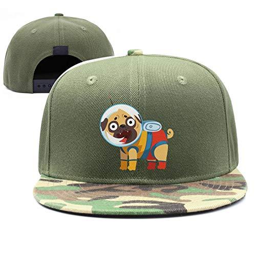 YHNBHI Cute Alien Astronaut Dog Unisex Army-Green Adjustable Cricket Cap Fashion Baseball Hats