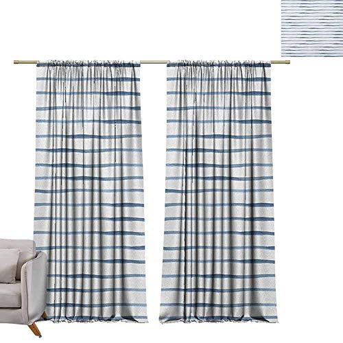 berrly Shades Window Treatment Valances Curtains Harbour Stripe,Abstract Brushstroke Nautical Ocean Horizontal Lines Soft Picture, Night Blue White W84 x L84 Thermal Insulated Blackout Curtains