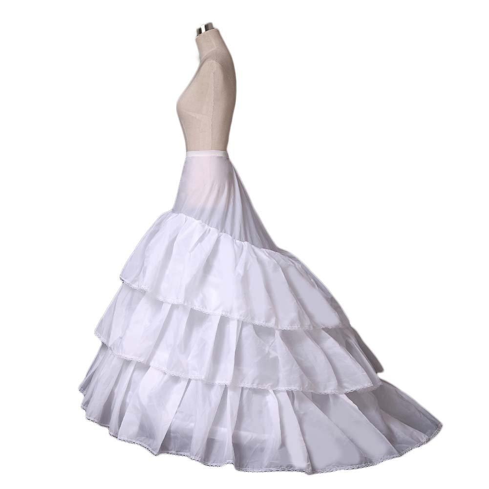 Women's A-line Train Wedding Petticoat 3-Hoop Underskirt Crinoline Slips 8990