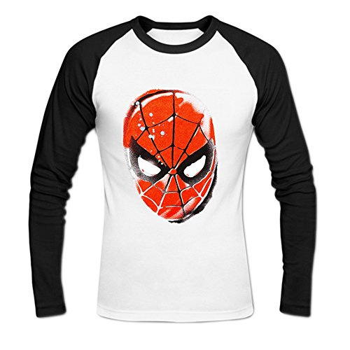 Men's Spiderman Stencil Head Baseball Cotton T Shirt S White
