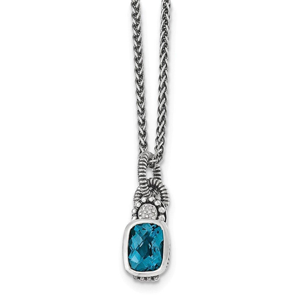 Brilliant Bijou Sterling Silver London Blue Topaz /& Diamond Necklace 18 inches