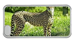 Cheap iphone 5C fancy covers Cheetah in the forest grass green PC Transparent for Apple iPhone 5C