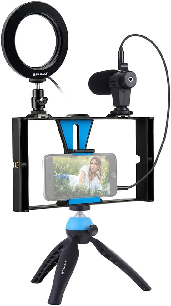 KKmoon PULUZ Dimmable Selfie Rings Fill Light with Cell Phone Holder & Tripod Stand Stabilizer & Microphone LED Camera Ringlight for Live Stream/Makeup Photography Vlogging Video Recording