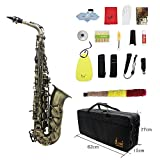 Andoer High Grade Antique Finish Bend Eb E-flat Alto Saxophone Sax Abalone Shell Key Carve Pattern with Case Gloves Cleaning Cloth Straps Grease Brush