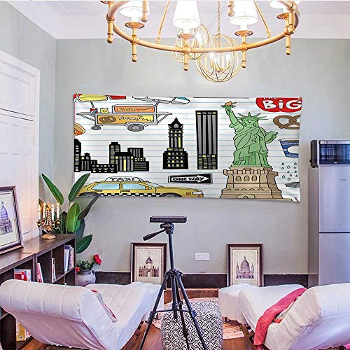 bybyhome DoodleDormitory Tapestry New York City Manhattan Statue of Liberty The Big Apple Hot Dog Stand Sketch StyleBedroom Tapestry 91W x 60L InchMulticolor for $<!--$52.30-->