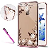 "6S Case,iPhone 6 Case,EMAXELER Bling Swarovski Crystal Rhinestone Diamond Case for iPhone 6S, Plating Frame Process Flexible TPU Case for iPhone 6/6S(4.7"")Butterfly & White flowers[Rose]"