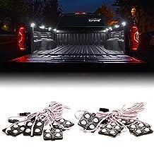 Xprite New Version White 8pc 24 LED Rock Light Truck Bed Rail Light Side Marker LED Lighting Kit w/ Switch