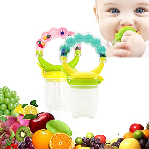 Price comparison product image baby Fresh Food Feeder Nibbler Fruit Pacifier Ringing Teething Feeder with Handgrip 2PCS for 6-12 Months Baby Boy and Girl (Pink, Green)