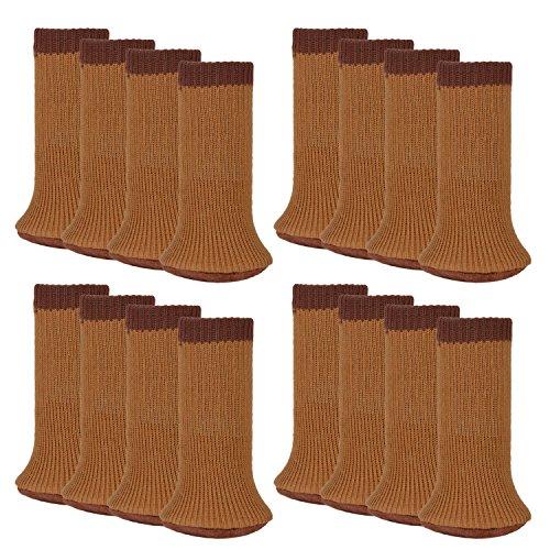 Outgeek Furniture Socks 16 Pcs Chair Leg Socks Anti-Skid Wool Knitted Chair Leg Floor Protector Thick Bottom Furniture Leg Covers (Light Coffee) (Booties Furniture)