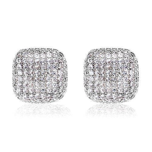 Richapex Silver Square Pave Full CZ Earring of Mens Womens Ear Studs