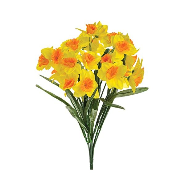 Floristrywarehouse Artificial Daffodil Bush Two-Tone Yellow 19 Inch Spring Flower
