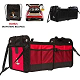[NEW w/ Straps] Car Trunk Storage Organizer with Straps by Tuff Viking with 11 Extra Pockets, Removable Divider, Expandable side pockets, Collapsible, Reinforced Bottom, and Waterproof Interior (Red)