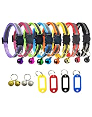 TCBOYING Breakaway Cat Collar with Bell & ID Tag, Mixed Colors Reflective Cat Collars - Ideal Size Weatherproof ID Tags Pet Collars for Cats or Small Dogs(8pcs/Set)