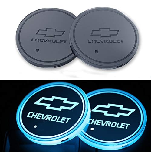 Auto Accessories Led - monochef Auto sport 2PCS LED Cup Holder Mat Pad Coaster with USB Rechargeable Interior Decoration Light for Chevrolet Accessory