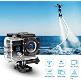4K Wifi Waterproof Sports Action Video Camera Recorder, 30M Underwater Digital DV Camcorder Camera 170°Adjustable Wide Angle Lens with 2 Rechargable Batteries&Sports Mounting Accessories Kits