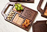 Charcuterie Board With Handles Personalized, Wine Beer Cocktail Serving Tray Cheese Board, 5 Styles, Gift Sets Available