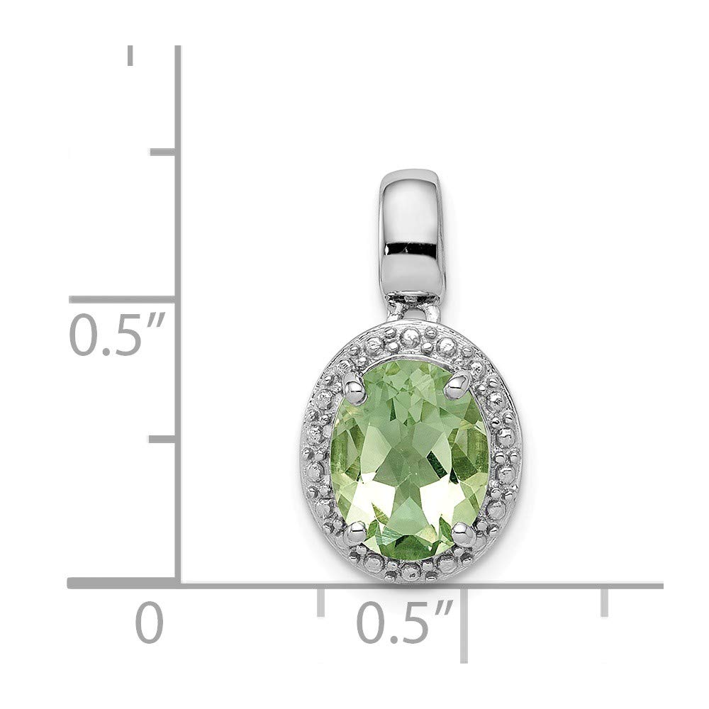 925 Sterling Silver with Green Simulated Quartz Oval Pendant 18mm x 10mm
