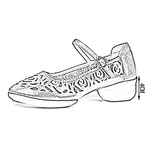 UK6 Tamaño Y Hembra PENGFEI 5 Zapatos Danza del US8 Suave Altura Fondo 4CM Color EU40 Talla Primavera De 3 La Baile Colores Grande Talón Sandalias Respirable Plata 250 Verano Negro Hueco Cuadrada pr4rx