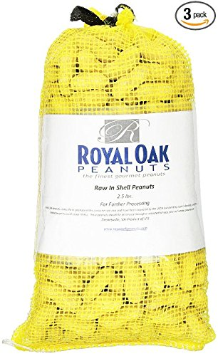 Royal Oak Raw In-Shell Peanuts, 2.5 Pound Bags (Pack of 3)