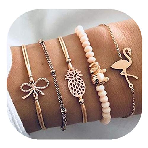 POYDORA Layered Beaded Bracelet Set Stackable Wrap Bangle Adjustable Beads Bracelet Natural Stone Link Chain for Women Girls (Flamingo)