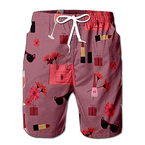 (Colorful with Women Cosmetics Men Swimwear Volley Pants Pocket XL)