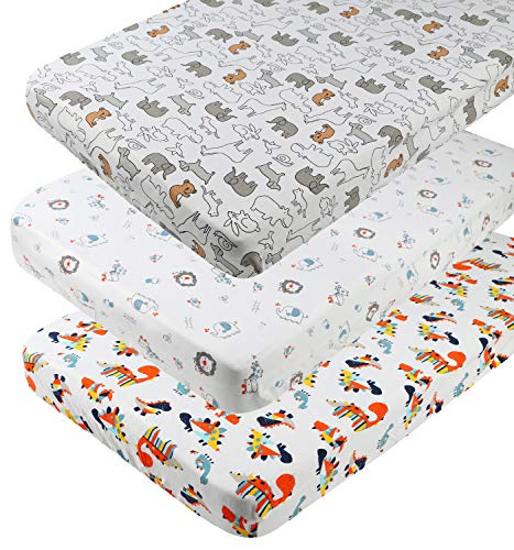 Pack n Play Playard Sheet Set 3 Pack 100% Jersey Knit Cotton 190GSM Fitted Portable Mini Crib Mattress Sheets for Baby Boy Girl Ultra Soft Stretchy Dinosaur Elephant Koala and Other Animal by Knlpruhk