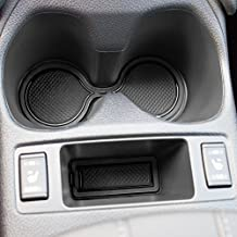 Custom Fit Cup Holder and Door Compartment Liner Accessories for Nissan Rogue 2014-2017 2016 2017.5 16-pc Set (Solid Black)