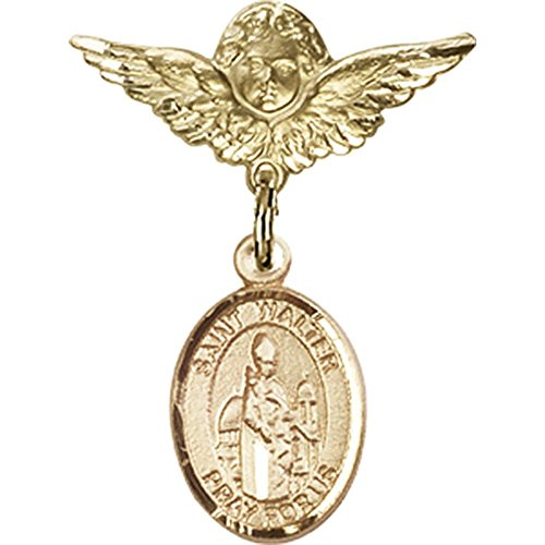 14kt Yellow Gold Baby Badge with St. Walter of Pontnoise Charm and Angel w/Wings Badge Pin 1 X 3/4 inches by Bonyak Jewelry Saint Medal Collection