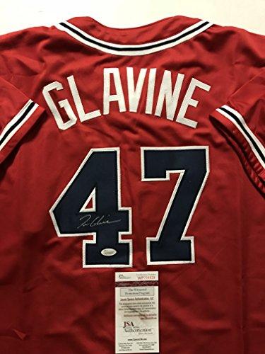 (Autographed/Signed Tom Glavine Atlanta Red Baseball Jersey JSA COA)