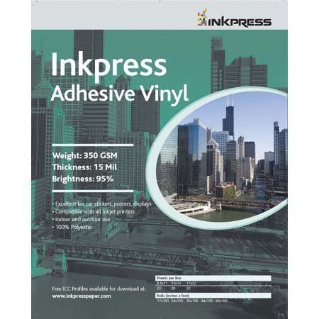 INKPRESS MEDIA 350 GSM, 15 Mil, 95 Percent Bright Paper (#AV851120) Self Adhesive Media