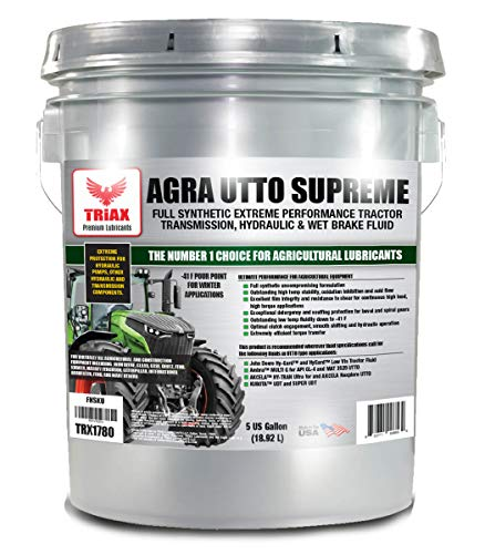Triax Agra UTTO Supreme - Full Synthetic Tractor Hydraulic, Transmission & Wet Brake Oil, All Season Formulation - Replaces 99% of OEM Tractor Fluids (5 Gallon Pail)