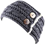 The Hat Depot Women's Hand Made Cable Knit Hand Made Headband With Button Detail (Grey)