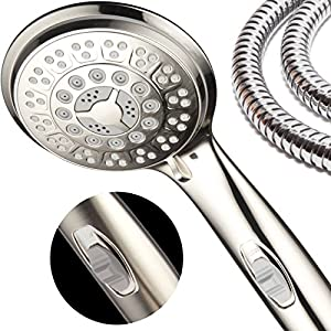 HotelSpa 9-Setting Luxury Brushed Nickel Hand Shower with Patented On/Off Pause Switch