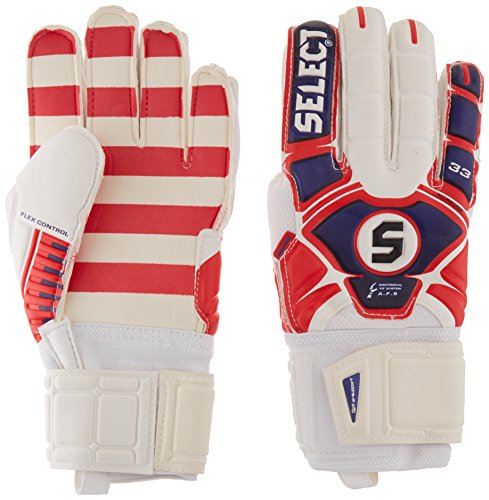 Graphic Jersey Goalkeeping (Select US33 All Round Goalkeeper Gloves, White/Red/Blue, 11)