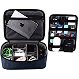 BUBM Large Electronic Accessories Organizers,Electronic Accessories Carrying Bag with Cable Plate, (Blue)