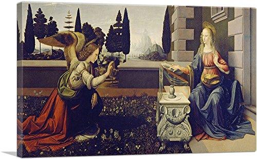 (ARTCANVAS The Annunciation 1472 Canvas Art Print by Leonardo da Vinci- 40