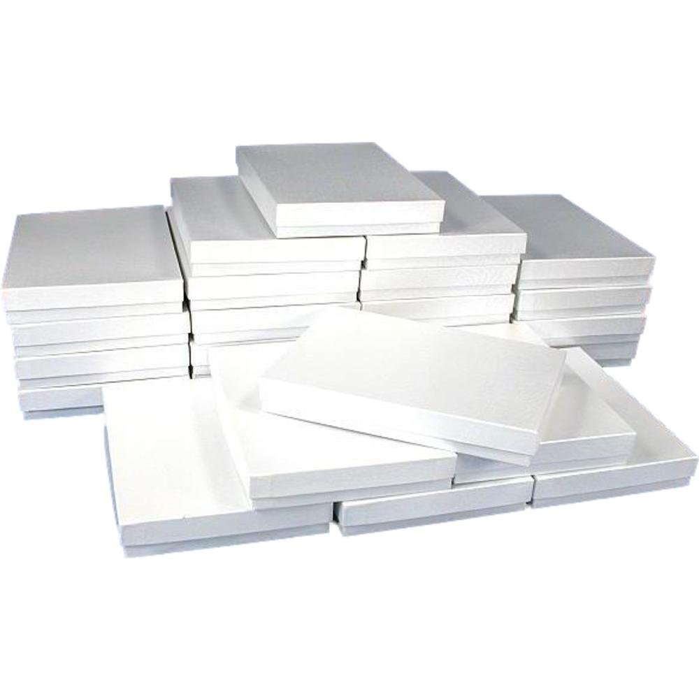 25 White Swirl Cotton Boxes Necklace Jewelry Gift Box Displays 7 1/8''