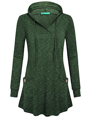 Kimmery Girls Green Hooded Sweatshirt Women, Warm Soft Comfy Tunic Tops Regular Youth House Wear Baggy Casual V Neck Sweater Knitted Oversized Solid Shirt Maternity Space Dye Green XXL