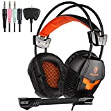 Sades SA921 Lightweight 3.5mm Jack Over Ear Stereo Gaming Headset with Mic and Splitter Adapter for Laptop / PC / MAC / PS4 / Xbox One / Phones (Black / Orange)