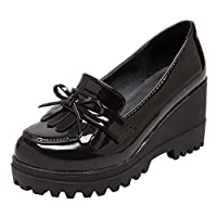 Wedge Oxfords Shoes for Women, Girls Tassels Lolita Cosplay Japanese School Uniform Dress Shoes Heel Platform Loafers Black,8