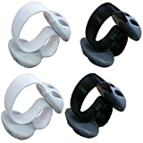 Coralpearl Weighted Desktop Non Adhesive Double Slots Small Cable Clips Desk Organizer Line Fixer Wire Holder Cord Management Set for Home Office White and Black Pack
