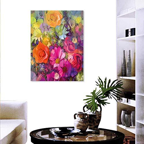 Vintage Daisy Canvas Football (Floral Art-Canvas Prints Vibrant Flower Bouquet Daisy Peony Gerbera Petals Romantic Arrangement Print Print Paintings Home Wall Office Decor 24