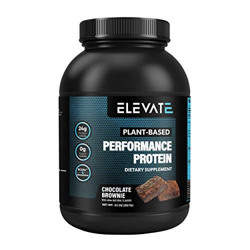 Elevate Nutrition Plant Based Vegan Performance Protein Powder 2lbs Chocolate Brownie Flavor, Low Carb, NO Sugar, High Protein, High BCAAs, High Glutamine, GMO-Free, Dairy and Soy Free, NO Artificial