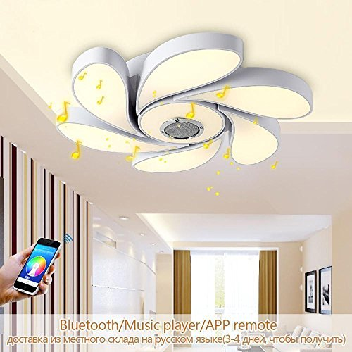 Ceiling fixtures, 72 W RGB LED Ceiling Light Modern Smart Home Bluetooth Speaker Music Smartphone App Remote Control Dimmable LED Colorful Ceiling/Wall Spot Light, D56 cm