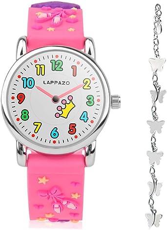 LAPPAZO- Reloj Niña de Analógico Cuarzo con Correa de 3D Dibujos Kit de Princesa y Pulsera Plata Mariposa con Caja de Regalo para Niñas 3-15 Años: Amazon.es: Relojes