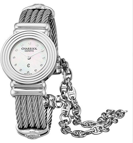 Charriol St-Tropez Art Deco Womens Swiss Watch - 24mm Analog Mother of Pearl Face Stainless Steel Luxury Dress Watch for Women 028LS.540.326 ()