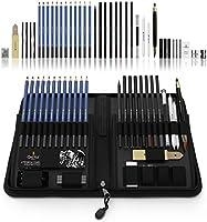 Set da 40 pezzi di matite da disegno e per schizzi Castle Art Supplies presentate con cura in un astuccio con zip, per...