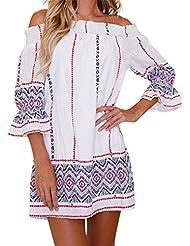 Luca Summer Womens Off Shoulder Geometric Printing Summer Mini Beach Dress