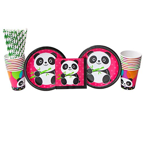 (Panda-Monium Party Supplies Pack for 16 Guests Includes: Straws, Dessert Plates, Beverage Napkins, and Cups (Bundle for 16))